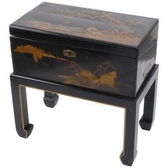Japanese Lacquered Lap Desk on Stand