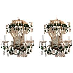 Wonderful Pair Emerald Green Beaded Crystal Hot Air Balloon Chandelier Fixtures