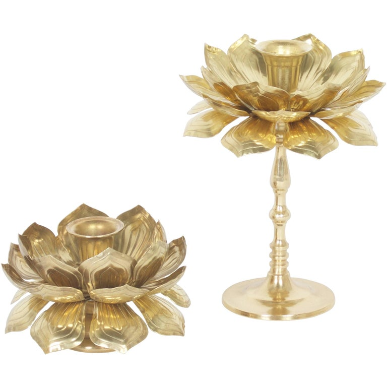 Two Brass Lotus Candleholders For Sale