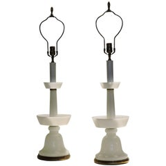 1940's French White Opaline Glass Lamps