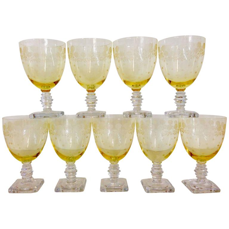 Antique Fostoria Quot Garland Quot Yellow Etched Glass Stem Set Of