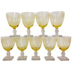 "Antique Fostoria ""Garland"" Yellow Etched Glass Stem Set of Nine"
