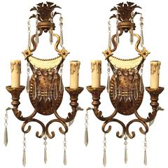 Pair of Pagoda Gilt and Enameled Sconces