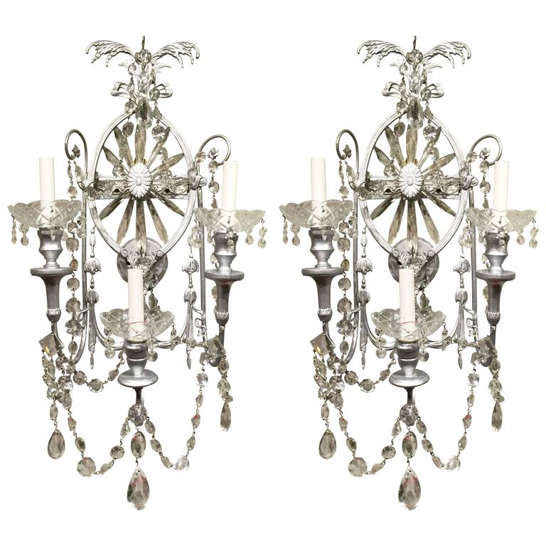 Gorgeous Pair of Neoclassical Crystal Wall Sconces