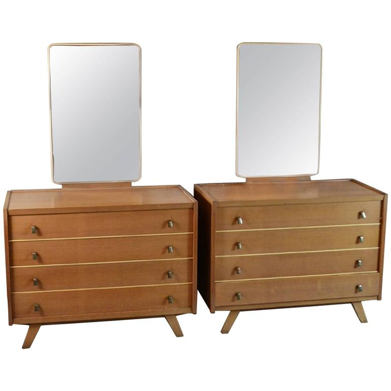 1970s pair of dressing room bedroom chest of drawers with for Bedroom drawers sale