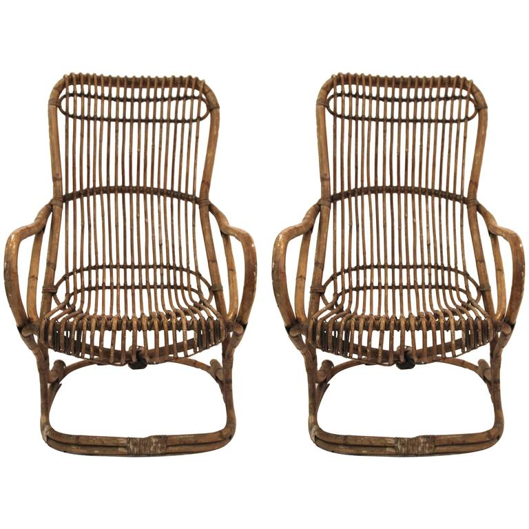 Pair of Armchairs, Bamboo, circa 1970, Italy For Sale