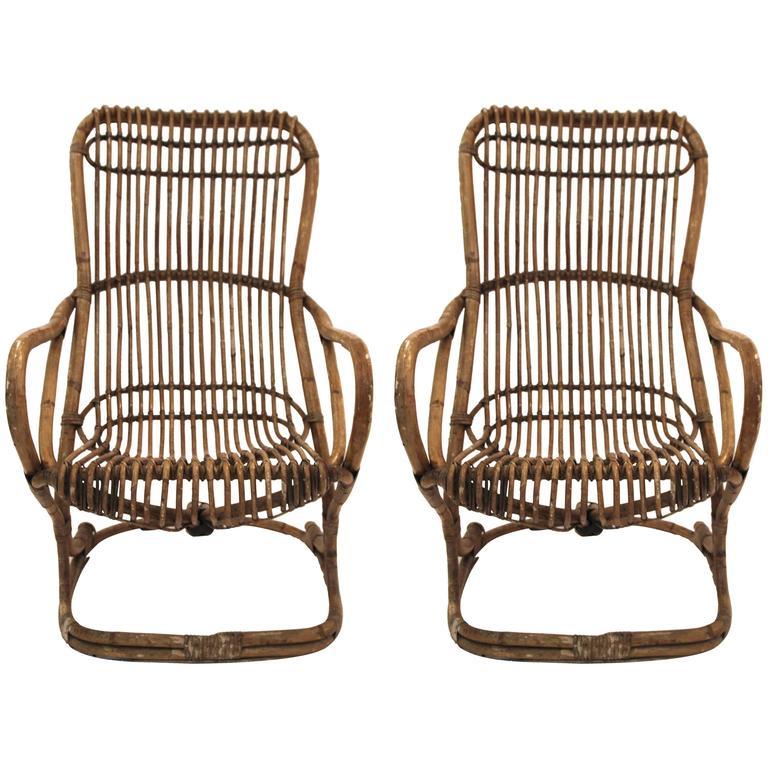 Pair of Armchairs, Bamboo, circa 1970, Italy