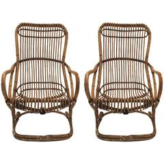 Pair of Armchairs, Bamboo, circa 1970, Italy