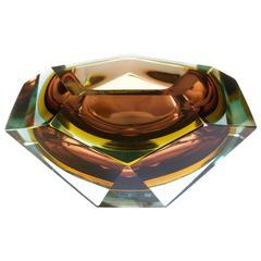 Large Italian Diamond Cut Faceted Murano Glass Centerpiece Bowl by Mandruzzato