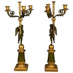 Pair of Period Empire Bronze Three-Light Candelabra, France, circa 1810