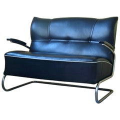Two-Seat Tubular Steel Cantilever Couch, German Modernism, circa 1940