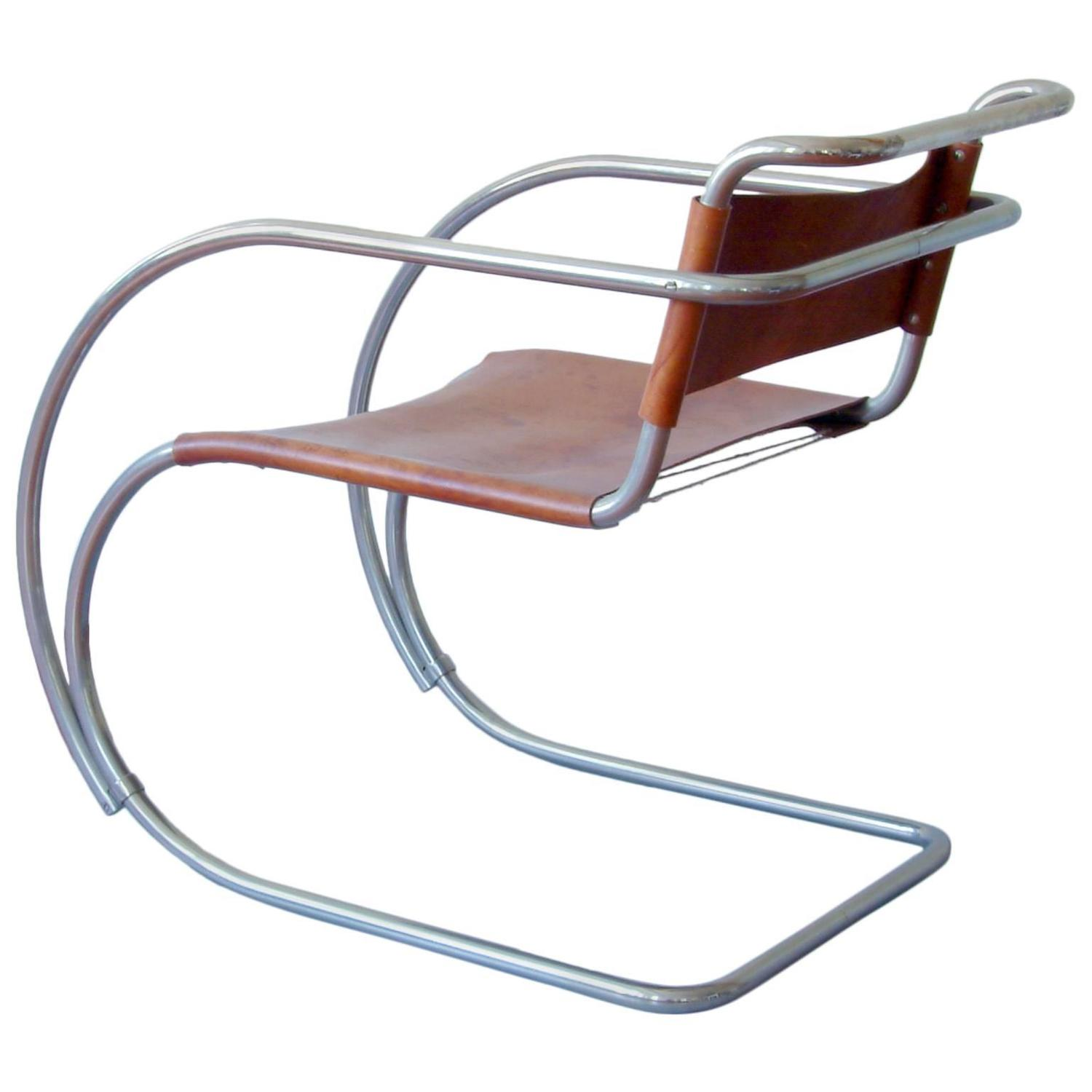 rare tubular steel cantilever chair mr 20 by ludwig mies. Black Bedroom Furniture Sets. Home Design Ideas