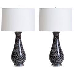 Italian Feathered Smoke Glass Lamps