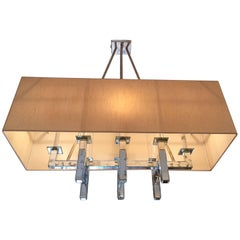 Silver Leaf and Aged Mirror Rectangular Mid-Century Modern Chandelier