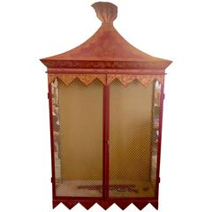 Chinoiserie Style Red and Gold Tole Cabinet