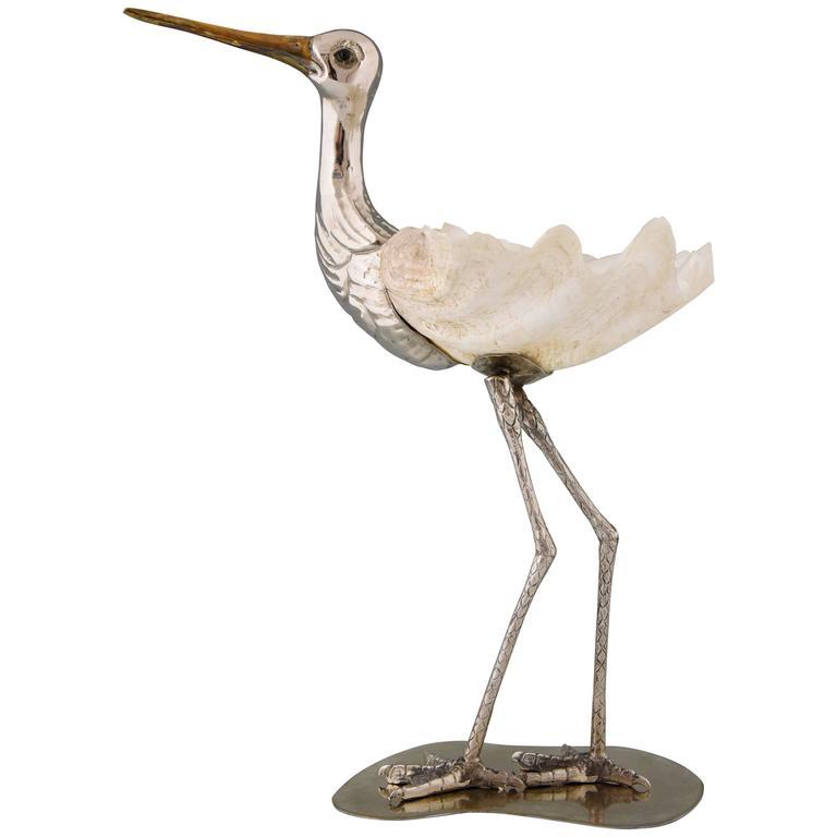 Modern Italian Bird Sculpture Silvered Metal and Seashell by Gabriella Binazzi