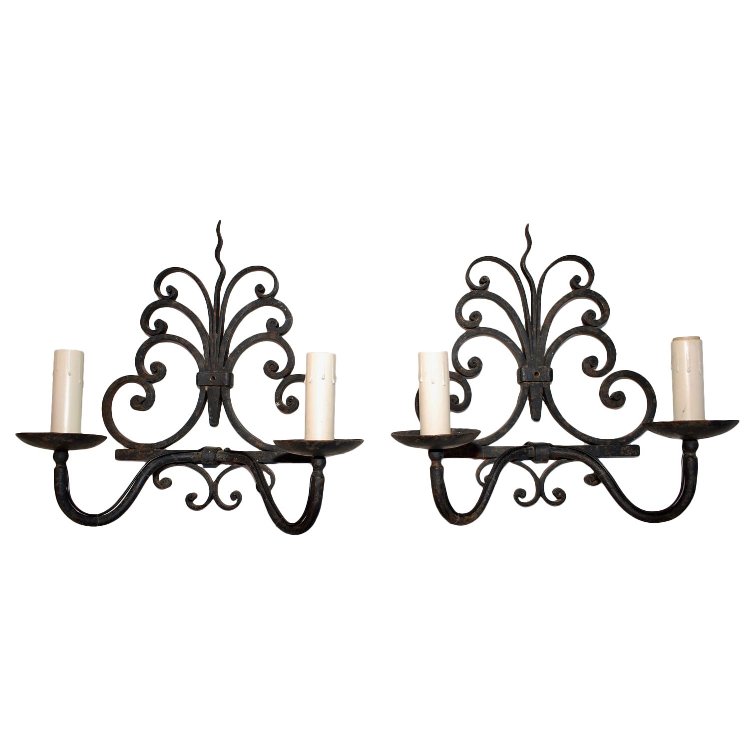 large pair of antique French wrought iron sconces