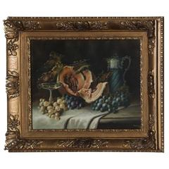 Antique Still Life Framed Oil Painting on Canvas by A. De Racourt, 1923