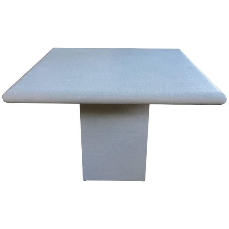 Karl Springer Style Linen Dining Table