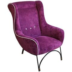 Shaped Armchair with Metal Legs from 1950s