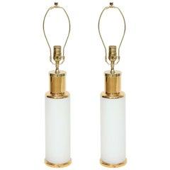 Luxus White Glass & Gold Trim Lamps