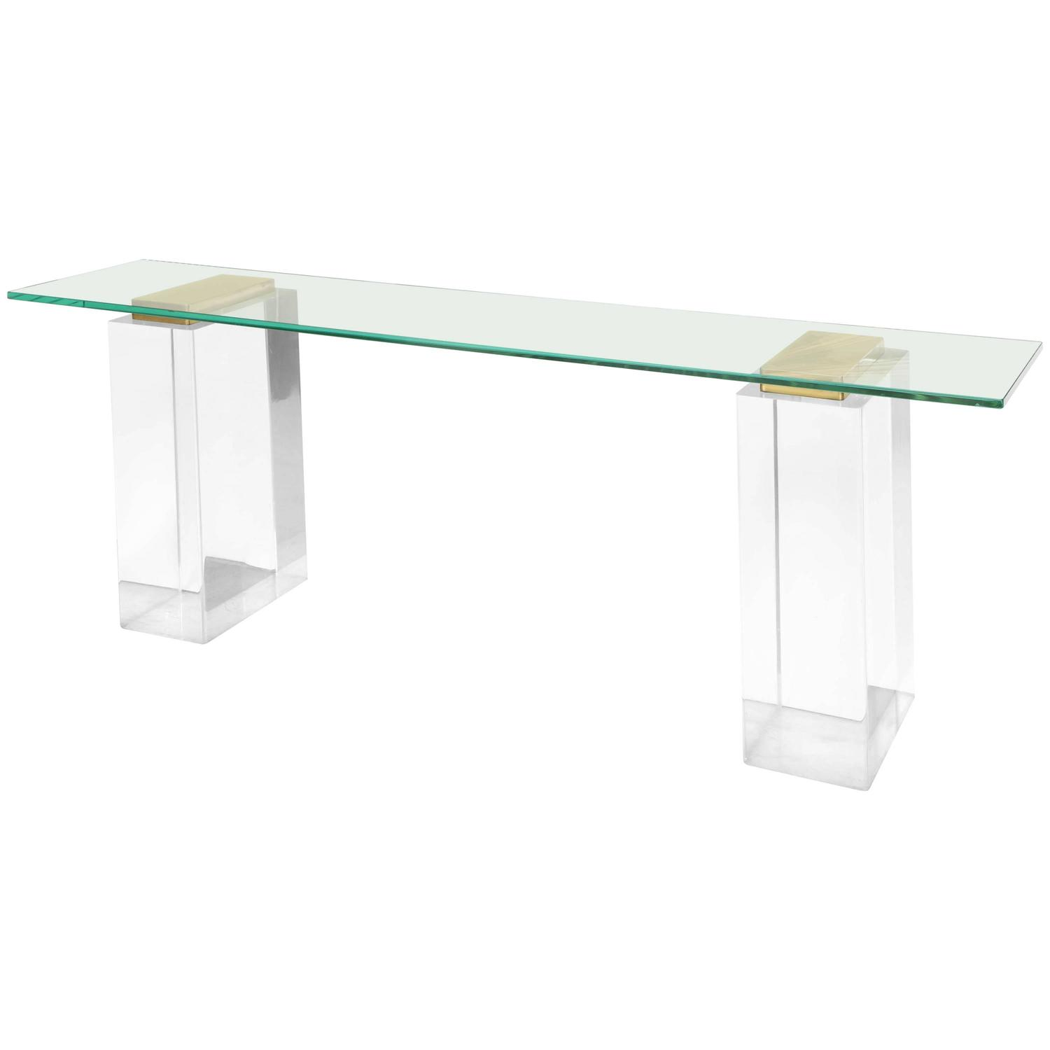 Lucite console table with massive solid lucite columns for for Small acrylic console table