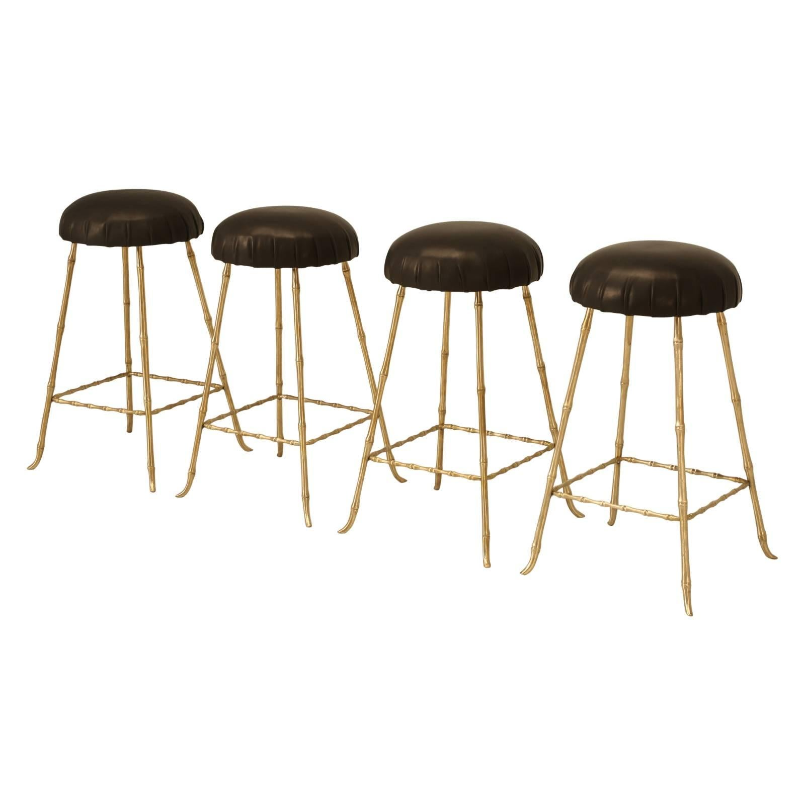 Polished Solid Brass Counter Stools in a Jansen Inspired Faux Bamboo Design