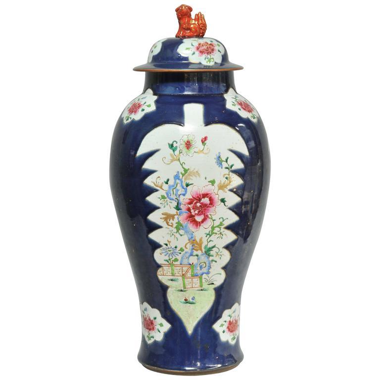 Large 18th Century Chinese Famille Rose Powder Blue Ground Baluster