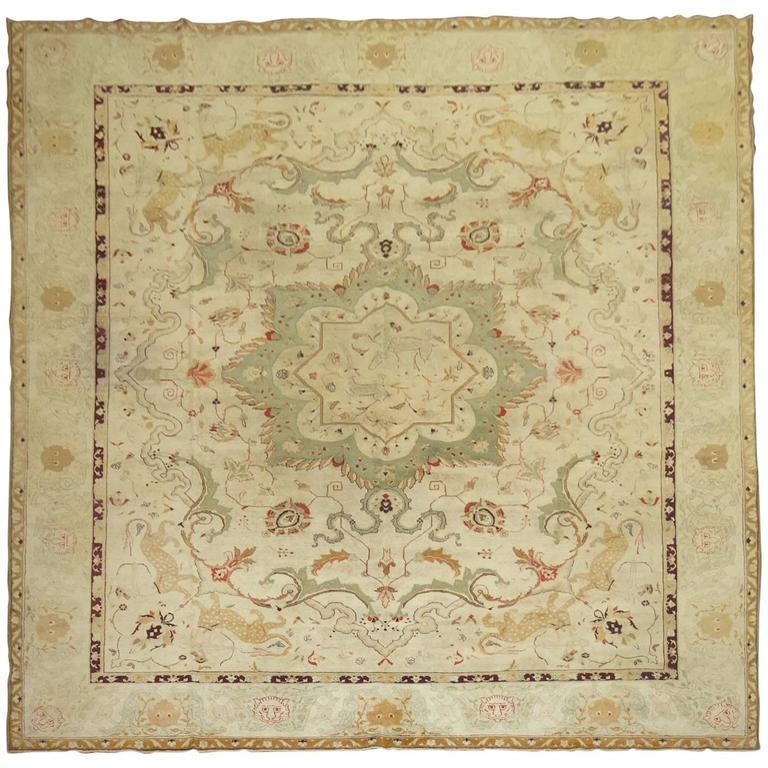 Deep Burgundy Indian Agra Rug For Sale At 1stdibs: Antique Agra Indian Hunting Scene Carpet For Sale At 1stdibs