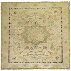 Antique Agra Indian Hunting Scene Carpet