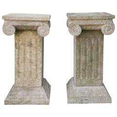 Pair of Carved Marble Columns