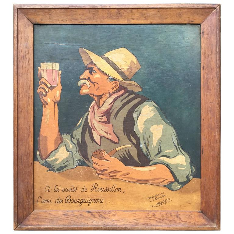 French Antique Painting Burgundy Wine Tasting Toast to Dear Friend, 1930