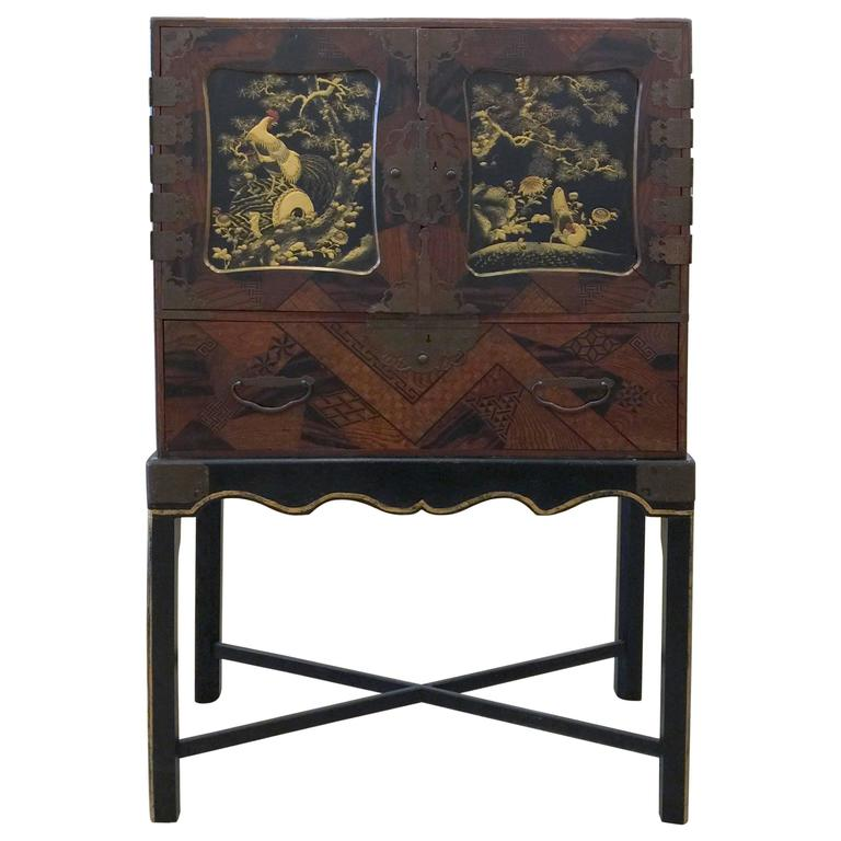Antique Japanese Marquetry and Lacquer Cabinet on Stand 1 - Antique Japanese Marquetry And Lacquer Cabinet On Stand At 1stdibs