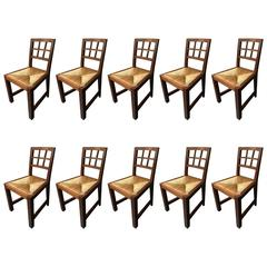 Set of Ten Side Chairs or Dining Chairs Attributed to Francis Jourdain