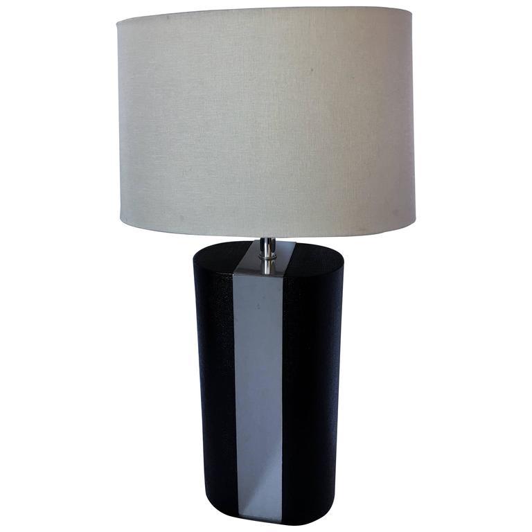 Karl Springer Style Linen Wrapped Chrome Lamp