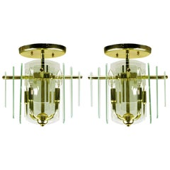 Pair Brass and Beveled Graduated Glass Ceiling Lights
