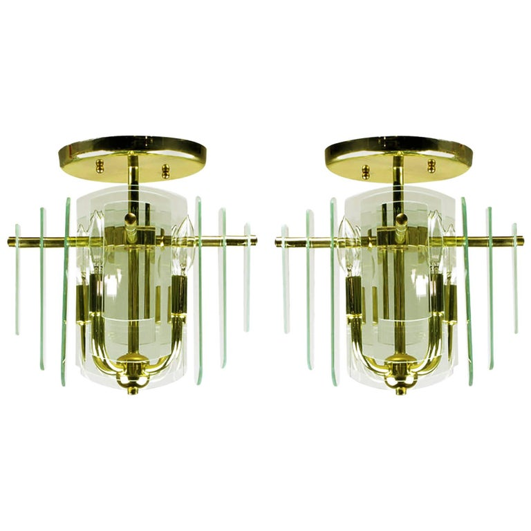 Pair Brass and Beveled Graduated Glass Ceiling Lights For Sale