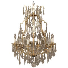 Very Fine Late 19th Century Gilt Bronze and Crystal Chandelier