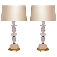 Pair of Elegant Modern Rock Crystal Quartz Lamps