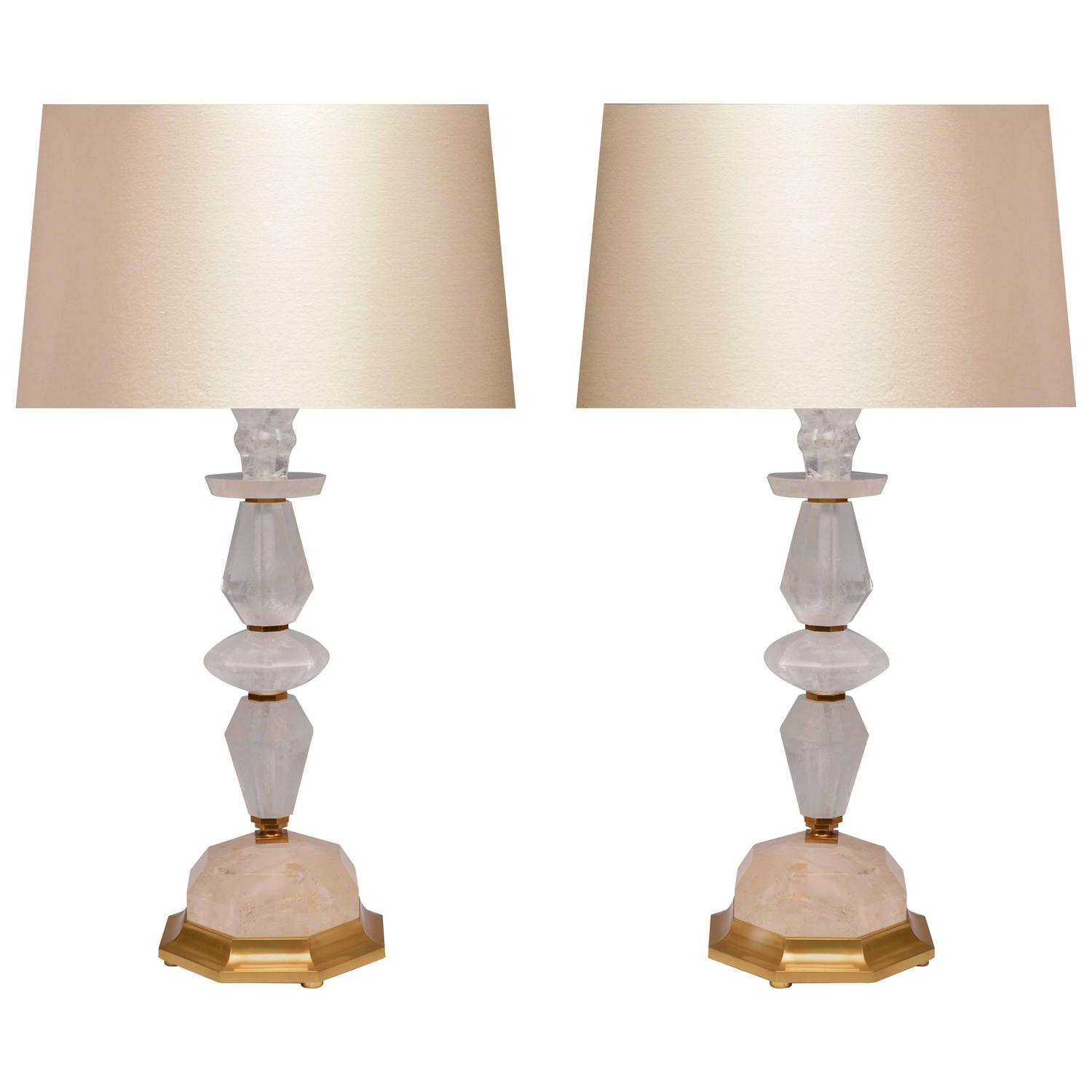 pair of elegant modern rock crystal quartz lamps for sale at 1stdibs. Black Bedroom Furniture Sets. Home Design Ideas