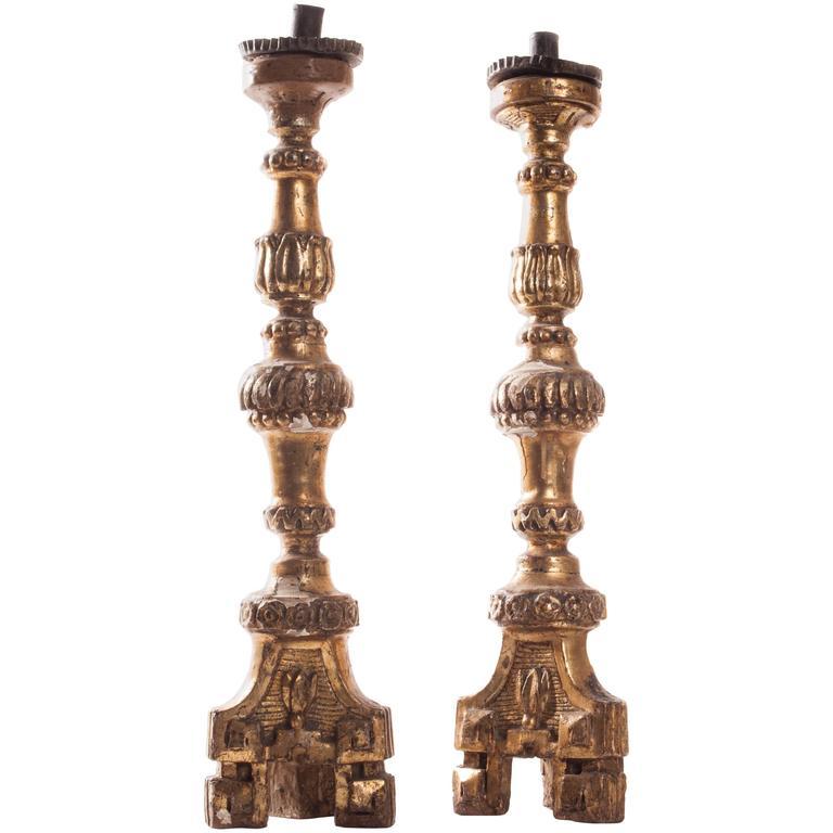 Pair of 18th Century Italian Altar Sticks For Sale