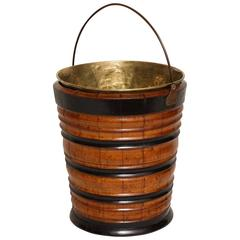 Turned Mahogany Peat Bucket with Ebonized Decoration