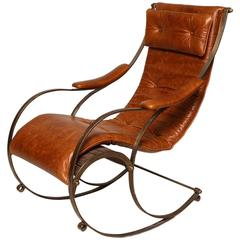 19th Century Steel and Leather Rocking Chair by R. W. Winfield