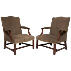 Pair of George III Style Library Armchairs