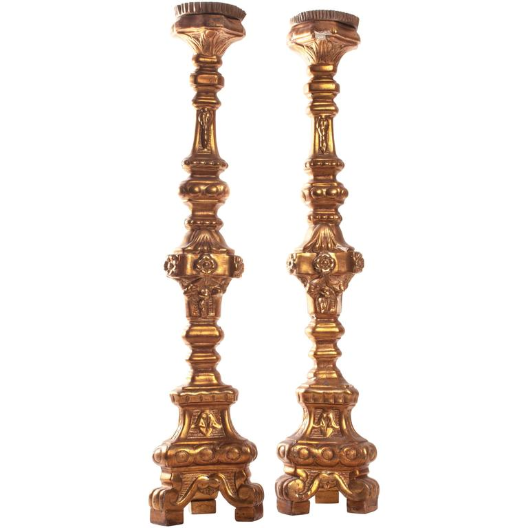 Pair of 18th Century Italian Giltwood Altar Sticks For Sale
