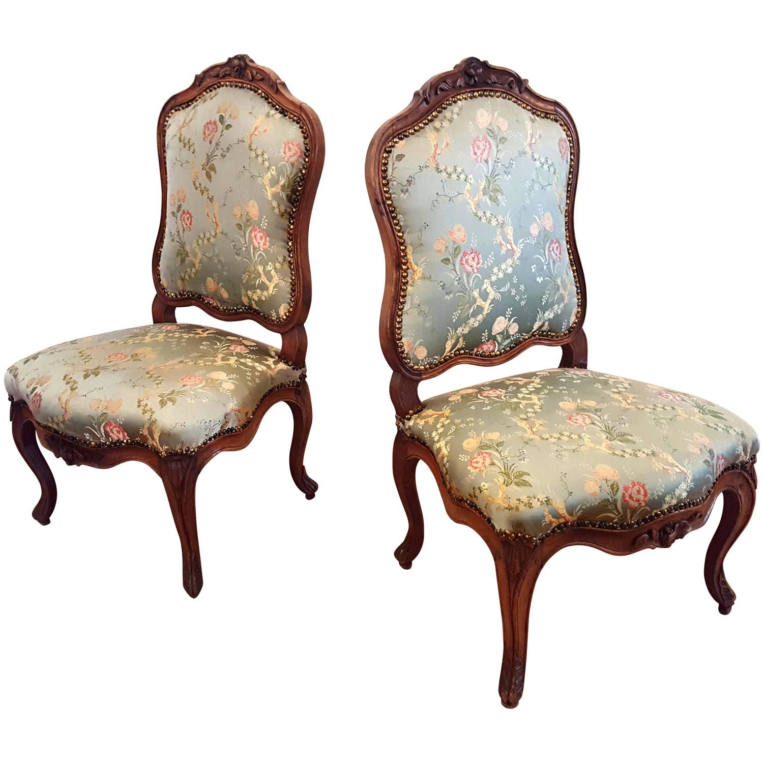 A Pair Of Period French Chairs With Missoni Fabric At 1stdibs: Fine Pair French Carved Walnut Rococo Chairs, Nogaret