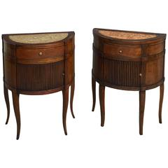 Matched Pair of Late 18th Century Bedside Walnut Commodes with marble tops