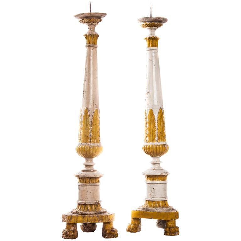 Pair of 18th Century Italian Polychrome Candlesticks For Sale