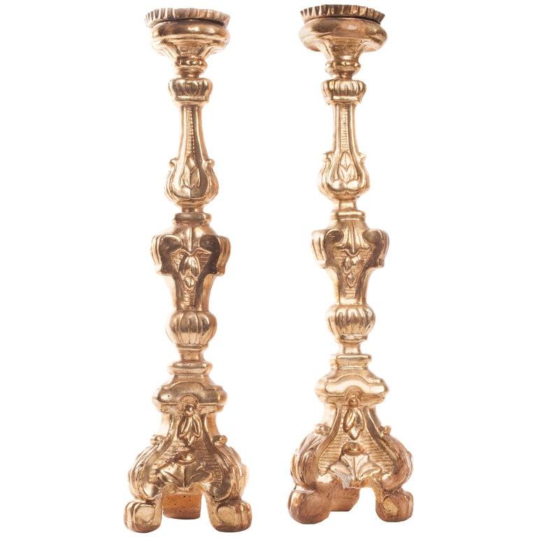 Pair of 18th Century Italian Altar Sticks