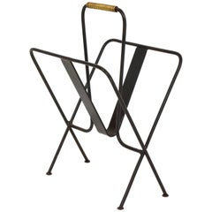 Jacques Adnet Iron Magazine Rack Mid Century, 1940 ,1950 France